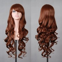 "Free Shipping 32"" 80cm Long Hair Heat Resistant Spiral Curly 12 Color Cosplay Wig+free Wig Cap"