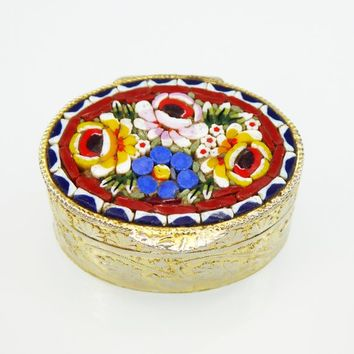 Mosaic Floral Hinged Trinket Box with Blue, Yellow and Pink Roses, Gold Tone Metal, White Plastic Liner Vintage 1970s 1980s Italian Pill Box