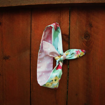 REVERSIBLE handmade dolly bow wrap headband. with or without wire