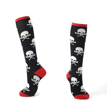 Knee High Cotton Women's Long Socks Skull