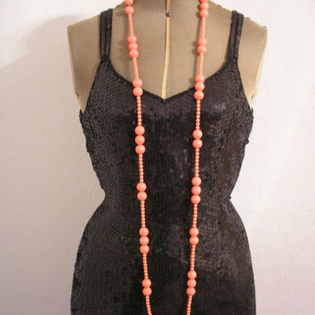 Great Gatsby Jewelry, Downton Abbey Jewelry, Art Deco Jewelry, Long Necklace, Flapper Necklace, Pink Beads, Roaring 20s, 1920s Jewelry