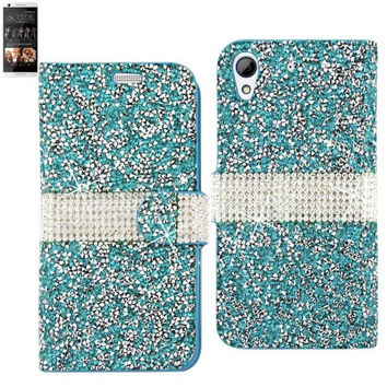 BLING Diamond Flip Case HTC Desire 626 BLUE