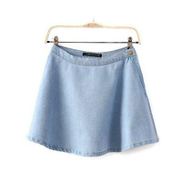 Women Denim Jeans Skirts Classic High Waist Pleated Flared Circle Skater
