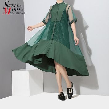 Korean Style Two Pieces Set Women Summer Patchwork Green Black Midi Mesh Dress With Vest Girls Party Dresses Clubwear 2564