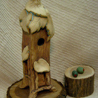 Clay Pottery Fairy House / Night Light  / Tree House / Candle Holder / Green & Brown / Unique Gift