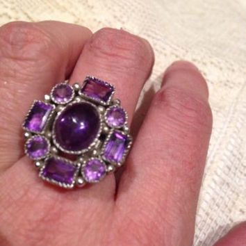 Nemesis Antique Genuine Purple Amethyst Stone Vintage 925 Sterling Silver 7 Ring