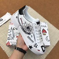 Dolce&Gabbana DG White Black Print Low-Top Sneakers - Best Deal Online
