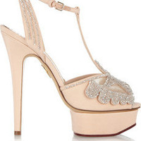 Charlotte Olympia Stella crystal-embellished silk sandals – 70% at THE OUTNET.COM