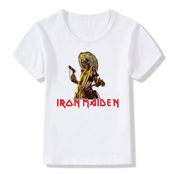 Boy and Girl Print Iron Maiden Metallica Fashion T-shirt Children Heavy Metal T shirt Short sleeve Kids Tops Tee Baby Clothes