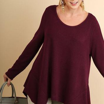 Umgee Asymmetrical Sharkbite Hem Tunic top Plus size