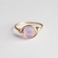 Lavender Sea Glass ring - unique rings