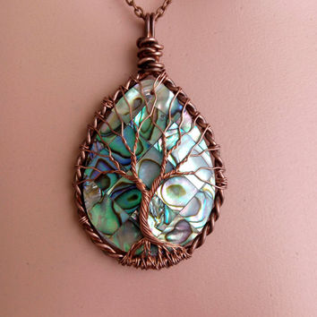 Tree of Life Copper Wire Wrapped Teardrop Abalone Shell Pendant Copper Wire
