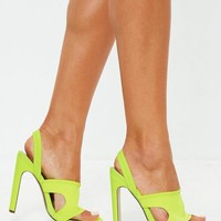 Missguided - Neon Yellow Sporty Sling Back Mules