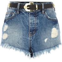 LIGHT WASH RIPPED DENIM HIGH WAISTED SHORTS