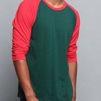 Men's Baseball T-Shirt TS900 (Green/Red) - B12C
