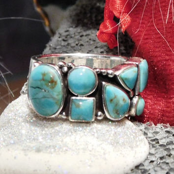 Cluster Turquoise Ring Band Sterling Silver Statement Modernist Vintage Ring Southwestern Western Gemstone Gem BOHO Bold Chunky Turquoise