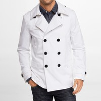 WHITE TRENCH-STYLE PEACOAT