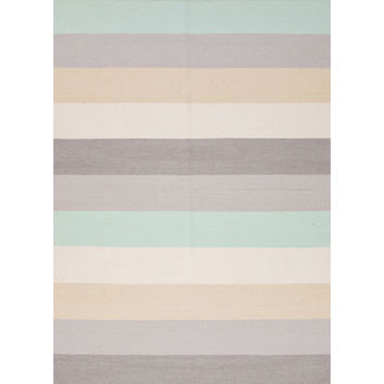 Jaipur Rugs FlatWeave Stripe Pattern Gray/Blue Wool Area Rug MR48 (Rectangle)
