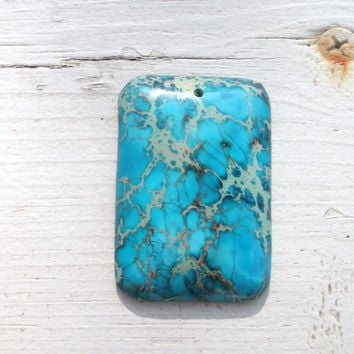 Sea Sediment Jasper Pendant Bead - rectangular shape, turquoise color, lighter grey and darker grey/black markings, pendant beads, stones