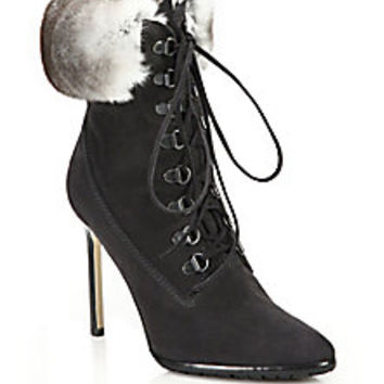 Manolo Blahnik - Oklamod Suede & Rabbit Fur Timberland Booties - Saks Fifth Avenue Mobile