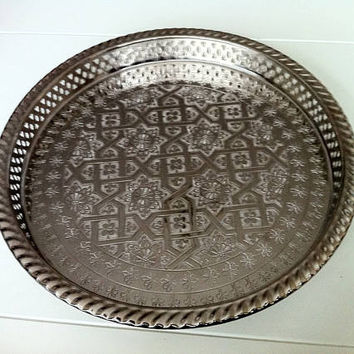 Authentic Moroccan Elegant handcrafted Alpaca Silver Serving Tray from Fez