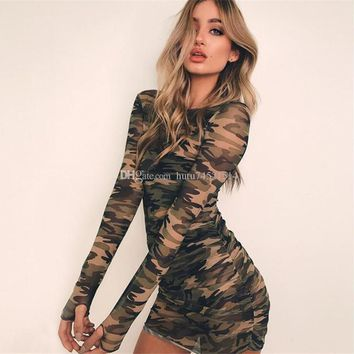 Camouflage Mesh Bodycon Dress Women 2018 Summer Casual Sexy See Through Dress Girl Long Sleeve Party Mini Dresses