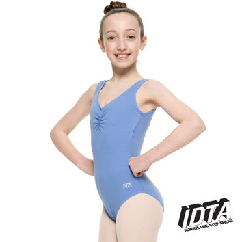 1st Position Adult's IDTA Ballet Sleeveless Low Back Leotard Sapphire