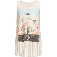 Full Tilt Festival Spirit Womens Fringe Tank Oatmeal  In Sizes