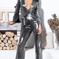 You Only Live Once Silver Metallic Long Sleeve Cross Wrap V Neck Tie Waist Loose Flare Leg Jumpsuit