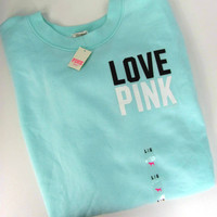 Victoria Secret PiNK Love Slouchy Crew Sweatshirt Top Aqua Black Graphic Large