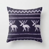 *** HAPPY ELK **** Scandinavian X-Mas Throw Pillow by Monika Strigel FAIR ISLE  PATTERN