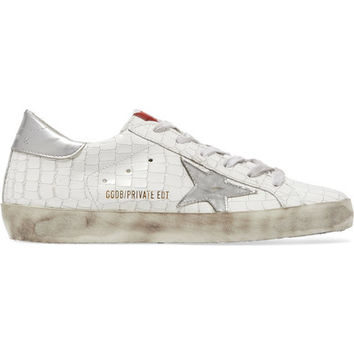 Golden Goose Deluxe Brand - Super Star distressed croc-effect leather sneakers