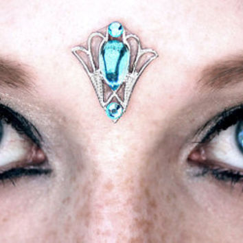 Atlantis Bindi, fairy gem, tribal fusion, fantasy jewelry, spiritual jewelry, blue, forehead jewelry, goddess, wicca, pagan, bellydance