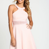 Rose Plush Crochet Flare Dress