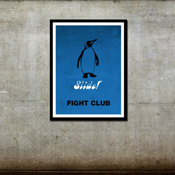 Free Ship Fight Club Penguin Slide Movie Poster 11 x 17 Print