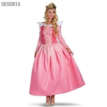 SESERIA Alice in Wonderland Halloween Costumes for Women Pink Adult Costume Cosplay Princess Dress Fairy Tale One-Piece Dress