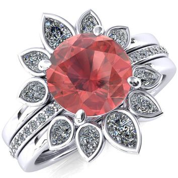 Flora Round Padparadscha Sapphire 1/2 Eternity Accent Diamond Ring