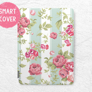 Mint Striped Rose Floral pattern Smart Cover for iPad Air, iPad Air 2, flower Smart cover with back case -P26