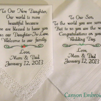 Wedding Gifts Embroidered Wedding Hankercheifs for Daughter In-Law and Son by Canyon Embroidery on ETSY