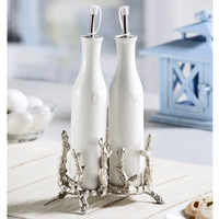 SPI Coral Antique Silver Finish Oil and Vinegar Holders (Set of Two)