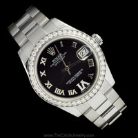 MINT CONDITION Mid-Sized Rolex Purple Dial w/Roman Numerals & Diamond Bezel 178384
