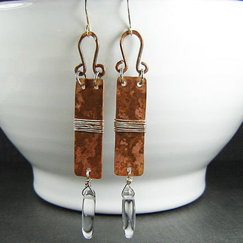 Crystal Quartz Dagger Earrings with Patina Copper and Sterling Silver