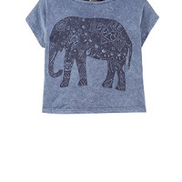 Teens Blue Elephant Acid Wash Crop T-Shirt