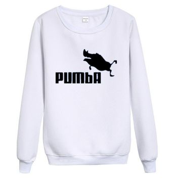 PUMBAFashion Hip-hop personality trend hip hop into round collar Sweater White