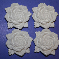 BIG milky white rose cabochons  4 piece set 30mm by MottoMiquette