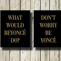 Beyoncé Quotes Set of 2 Gold Black Print Printable Instant Download Poster Wall Art Home Decor WG142-148