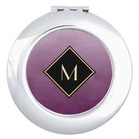 Elegant Brushed Purple With Simple Gold Monogram Mirror For Makeup