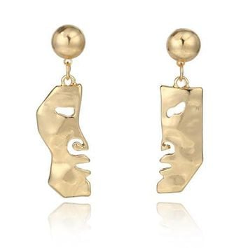 Gold Abstract Art Split Face Earrings