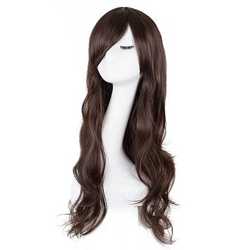 Synthetic, Heat Resistant, Long Wavy Women's Wig With Bangs, 24 Inches