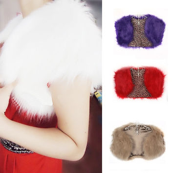 Women Faux Fur Cape Wedding Bridal Wrap Jacket Shawls Stole Bolero Shrug Coats = 1931704452